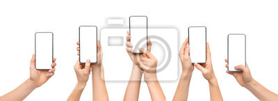Obraz Woman's hands using smartphone with blank screen over white background
