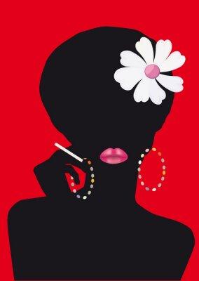 Obraz Woman's siluet z papierosem
