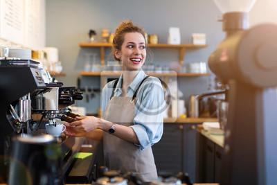 Obraz Woman working in coffee shop
