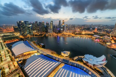 Wonderful aerial view of Marina Bay and skyscrapers, Singapore