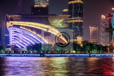 Wonderful night view of modern buildings in Guangzhou, China