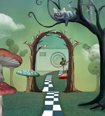 Obraz Wonderland series - Surreal countryside view with a secret  passage and cheshire cat