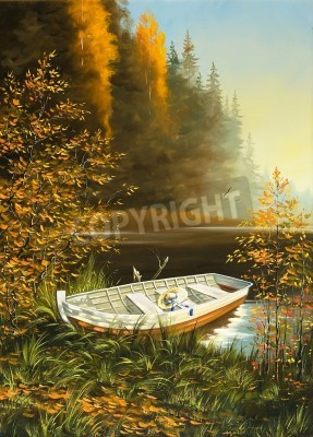 Obraz Wooden boat on the bank of lake