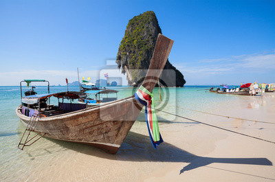 Wooden boats on the Railay beach, Thailand.
