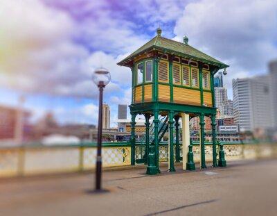 Wooden colourful home in Darling Harbour Bridge, Sydney, Australia