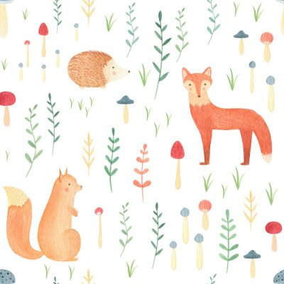 Obraz Woodland seamless pattern with watercolor hand drawn animals. Cute fox, squirrel, bear, rabbit with forest leaves and mushrooms on white background. Perfect summer print for kids, infants, nursery.