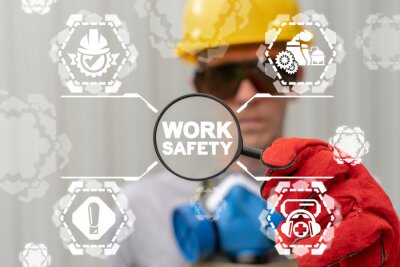 Obraz Work Safety Compliance Regulation Construction Industry Concept.