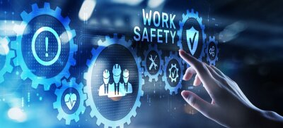 Obraz Work safety HSE Regulation rules business concept on screen