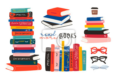 Obraz World book day. Stack of books, glasses, vertical books and coffee isolated on a white background. Set of hand drawn educational vector illustrations. Every illustration is isolated