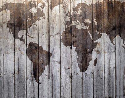 Obraz World map drawn on canvas wood effect