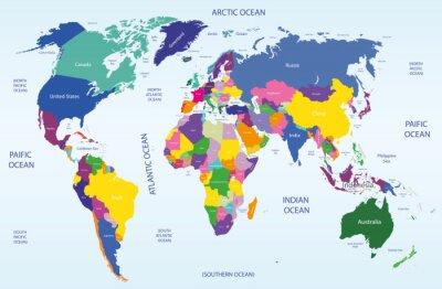 Obraz world map geograficznych i politycznych