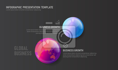 World map globe business infographic presentation vector illustration concept. Company statistics information graphic visualization template.