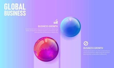 World map globe business infographic presentation vector illustration concept. Company statistics information graphic visualization template. Corporate analytics data report.