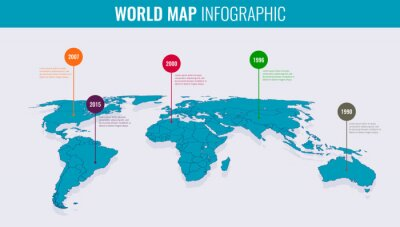 Obraz World map infographic template. 3d isometric. Vector