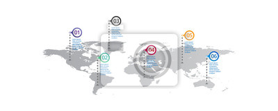 Obraz world map Infographic template with icons options . world infographic . business infographic for presentations, layout, banner, chart, info graph.