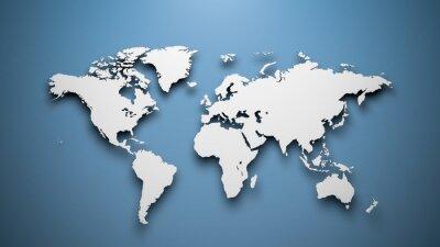 Obraz World map on blue background
