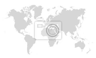 Obraz World map on white background. World map template with continents, North and South America, Europe and Asia, Africa and Australia