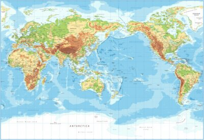 Obraz World Map - Pacific View - Physical Topographic - Vector Detailed Illustration