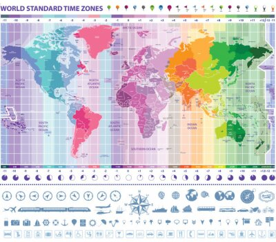Obraz world map standardowych stref czasowych zegary, nawigacji i ikony podróży