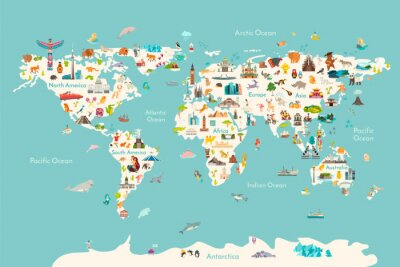 Obraz World map vector illustration. Landmarks, sight and animals hand draw icon. World vector poster for children, cute illustrated. Travel concept card