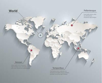 Obraz World political map blue white  vector