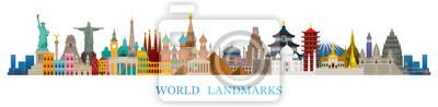 Obraz World Skyline Landmarks in Flat Design Style