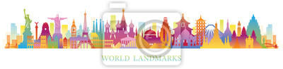 Obraz World Skyline Landmarks Silhouette in Colorful Color