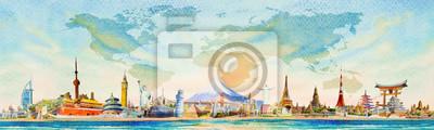 Obraz World travel and sights. Famous landmarks of the world.