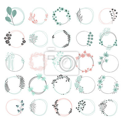 Wreath set. Vector floral illustration with branches, berries and leaves. Nature frame on white background.