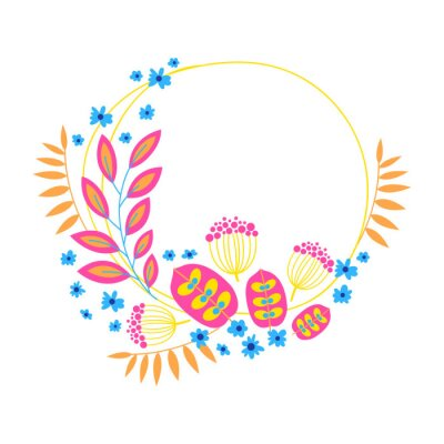 Wreath. Vector floral illustration with branches, berries and leaves. Frame on white background.