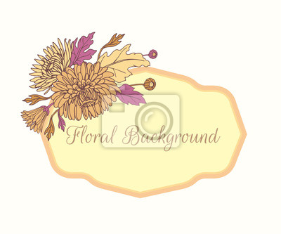 Wreath with chrysanthemums in sketch style. Beautiful flowers decoration. For Wedding day.