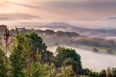 Obraz wschód słońca na wzgórzach Todi, Umbria