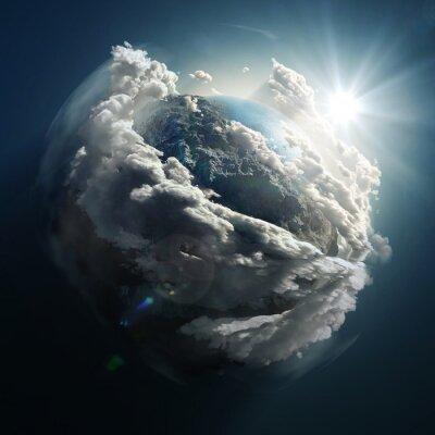 Obraz wschód słońca nad ziemią