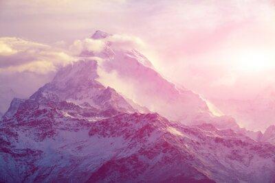 Obraz wschód słońca w górach