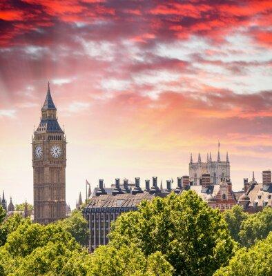 Obraz Wspaniały widok słońca Houses of Parliament - Londyn