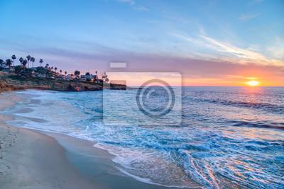 Wspaniały zachód słońca w La Jolla w Kalifornii