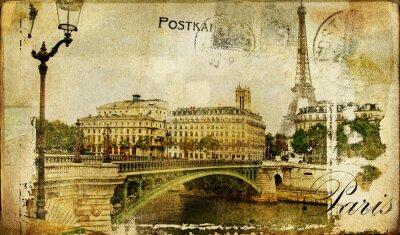 Obraz wspomnienia o Paris - zabytkowe tło