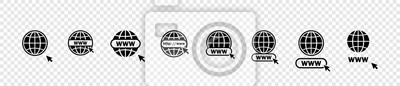 Obraz Www icons collection. Web site icons. Www icons with hand cursor in flat design. Www vector icons. Eps10