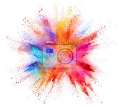Obraz Wybuch barwiony proszek odizolowywający na białym tle