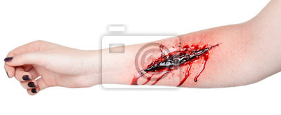 Obraz wyciąć krew rany na dłoni wyciąć żyłkę sutsyd profesjonalny makijaż płynie krwią