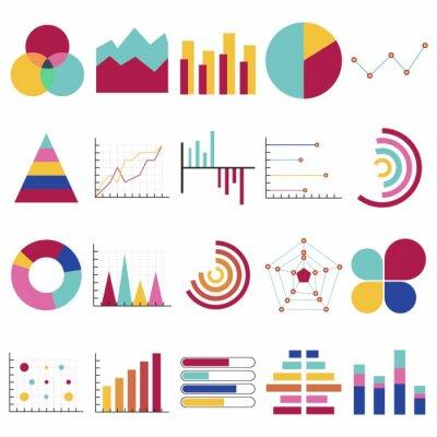 Wykresy danych biznesowych. Wykresy finansowe i marketingowe. Elementy rynku kropka wykresy słupkowe wykresy kołowe i wykresy. Schemat wykresu przepływu biznesu infographic. Płaskie ikony ustawiają od