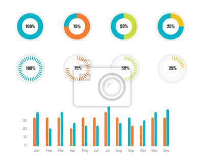 Wykresy danych planszowych. Wektorowe wykresy finansowe i marketingowe. Ekran danych sieci z wykresami i diagramami. EPS 10