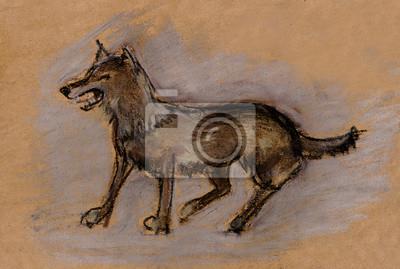 Wypchane zwierzę z wilka