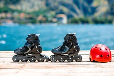 Obraz Wyposażenie łyżwach na deskach