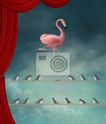 Obraz Wyróżnij się z tłumu - Flamingo i wróble w surrealistycznej scenie