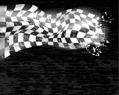 Obraz wyścigi tle flagi z szachownicą wawing