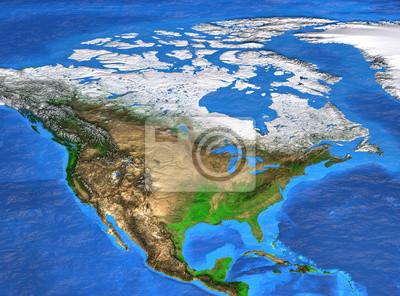 Wysoka rozdzielczość mapa świata koncentruje się na Ameryce Północnej