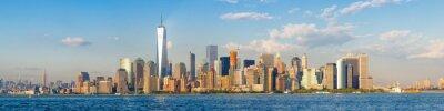 Obraz Wysoka rozdzielczość panoramiczny widok na centrum Nowego Jorku widziana z oceanu
