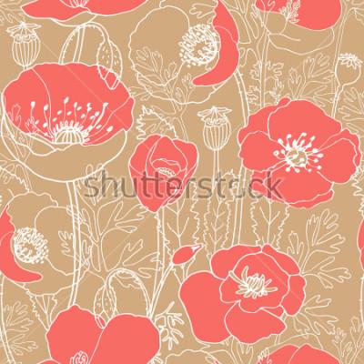 Obraz Wzór bez wzorów sztuki. Żywy kolor koralowy. Piękne papavers na beżowym tle.