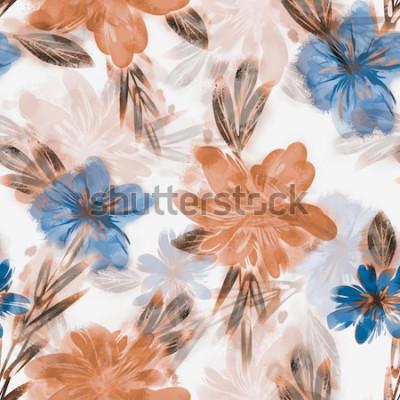 Obraz Wzór Kwiaty Pola. Akwarela Tło